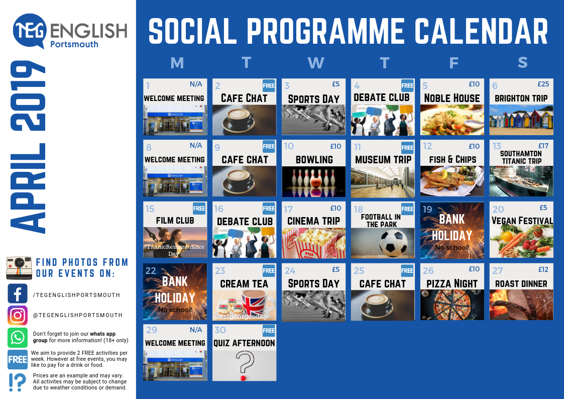 Portsmouth April Social Calendar