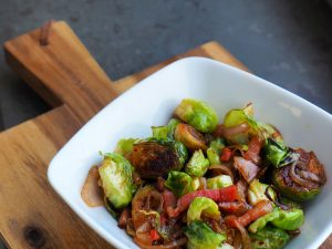 Sprouts with bacon and peppers.